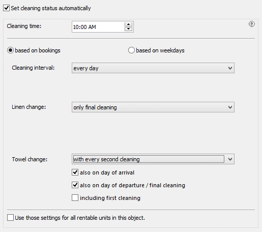cleaning status settings