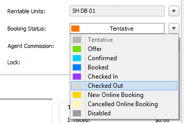 status checked out selected in booking window