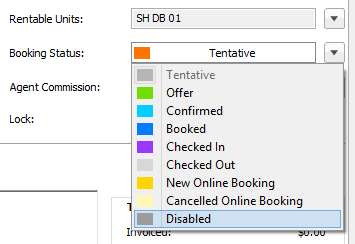 booking status disabled selected in booking window