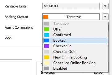 select booking status in booking window