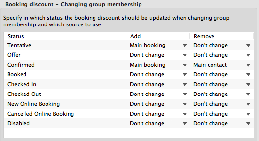 Changing booking discount
