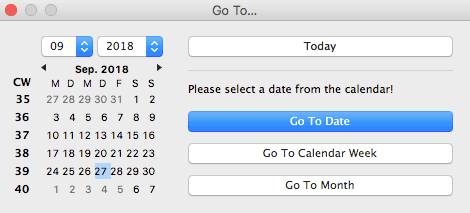 go to date in the calendar