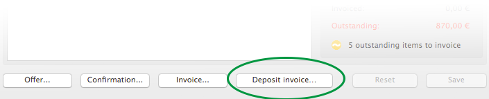 Deposit Invoice Button