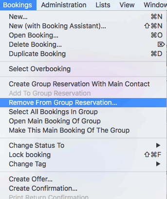 Remove booking from group reservation