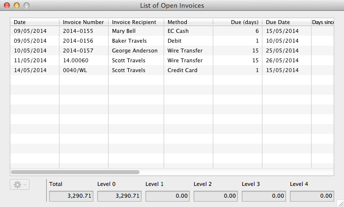 List Of Unpaid Invoices Documentation Of The Lodgit Hotel Software - Open invoice payment method
