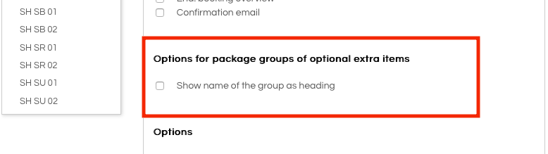 Options for package groups